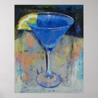 Royal Blue Martini Print