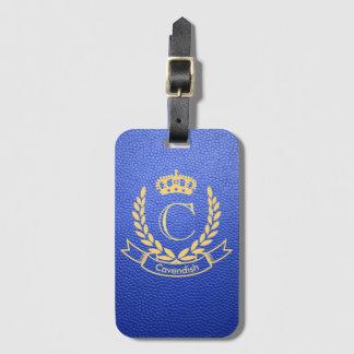 Royal Blue Mock Leather with Monogram Crest Bag Tag