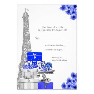 Royal Blue Paris RSVP 9 Cm X 13 Cm Invitation Card