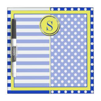 Royal Blue Polka Dots and Stripes-Monogram STaylor Dry Erase Board