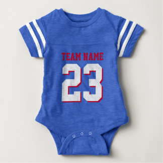 Royal Blue Red Baby Football Jersey Sports Romper Baby Bodysuit