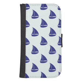 Royal Blue Sailboat Pattern Samsung S4 Wallet Case