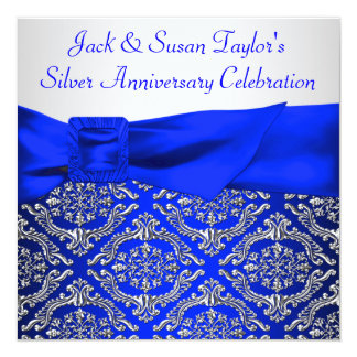 "Royal Blue Silver Damask Silver 25th Anniversary 5.25"" Square Invitation Card"