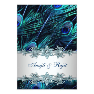 """Royal Blue Silver Indian Peacock Reception Cards 3.5"""" X 5"""" Invitation Card"""