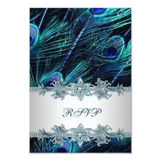 "Royal Blue Silver Indian Peacock Wedding RSVP 3.5"" X 5"" Invitation Card"