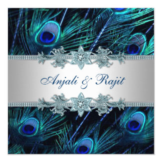 Royal Blue Silver Royal Indian Peacock Wedding 13 Cm X 13 Cm Square Invitation Card