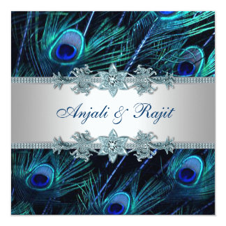 Royal Blue Silver Royal Indian Peacock Wedding Custom Invites