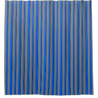 Royal Blue Silver White Amp Black Stripes Shower Curtain