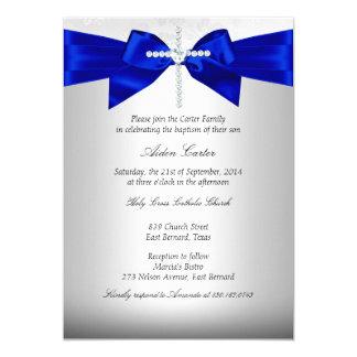 Royal Blue White Silver Cross Baptism Card