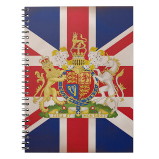 Royal Crest on Union Jack. Spiral Notebook