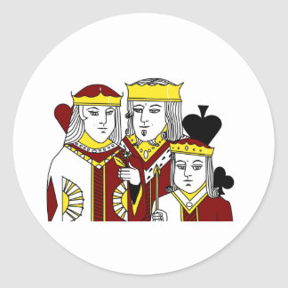 Royal Family portraiture card game poker items Classic Round Sticker