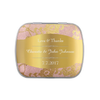 Royal Gold Pink Lace Jelly Belly™ Candy Tin Gift