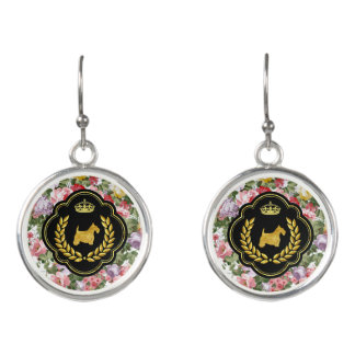 Royal Gold Scottie Floral Earrings