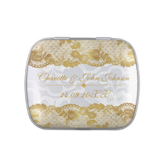 Royal Gold White Lace Jelly Belly™ Candy Tin Gift