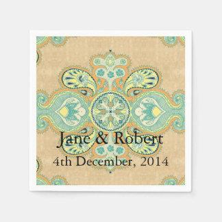 Royal Golden Paisley Paper Serviettes
