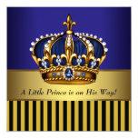 Royal Navy Blue Black Gold Prince Baby Boy Shower Invite