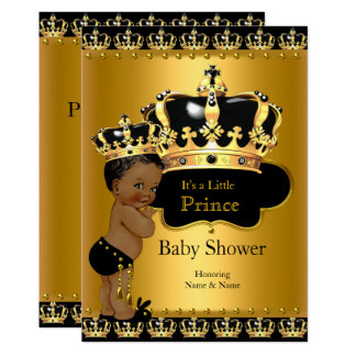 Royal Prince Baby Shower Black Gold Ethnic Card