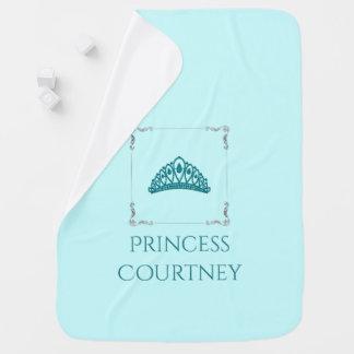 Royal Princess Crown Tiara Teal Aqua Nursery Baby Blanket