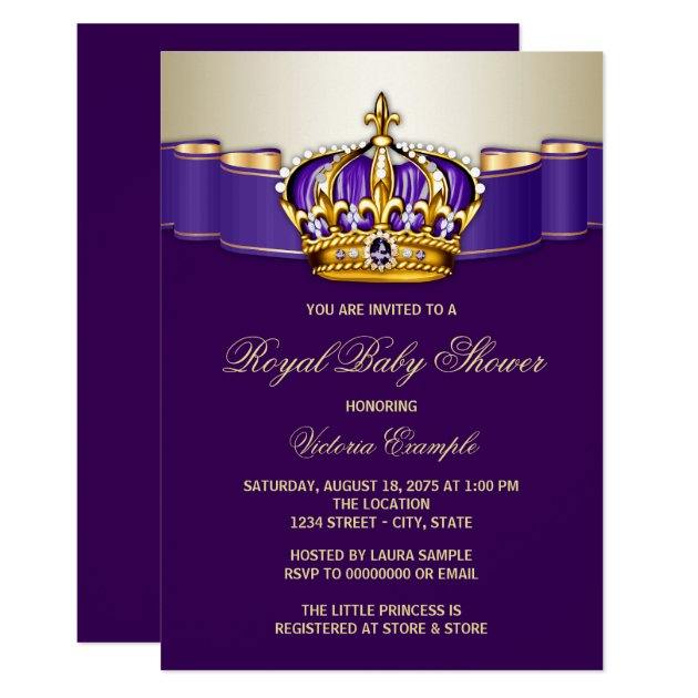 royal purple gold princess baby shower card | zazzle, Baby shower invitations