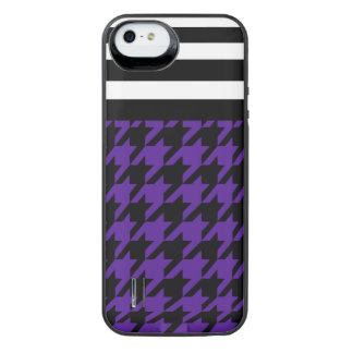 Royal Purple Houndstooth w/ Stripes 2 iPhone SE/5/5s Battery Case