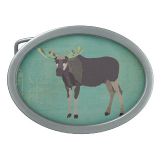 Royal Purple Moose Belt Buckle