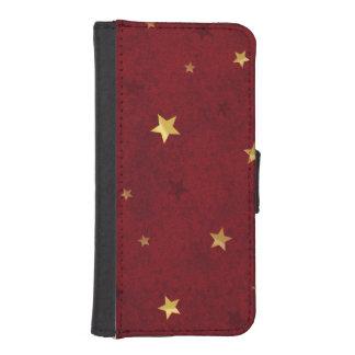 Royal Red Golden Stars iPhone SE/5/5s Wallet Case