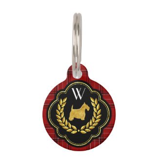 Royal Scottie Red Plaid Monogram Pet ID Tags