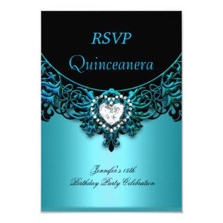 RSVP 15th Quinceanera Aqua Blue Teal Black Diamond Personalized Invitation