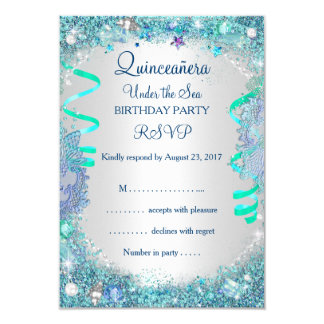 RSVP Blue Under The Sea Quinceanera 15th Birthday Card