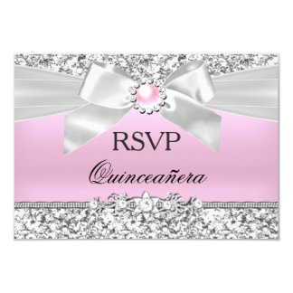RSVP Blush Pink Glitter Pearl Bow Quinceanera Card