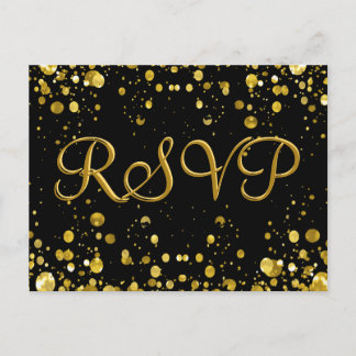 RSVP Card Gold Confetti