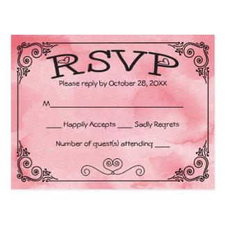 RSVP Cotton Candy Pink Watercolor Heart -No Menu Postcard