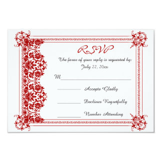 RSVP Dark Red Damask & White Wedding 9 Cm X 13 Cm Invitation Card