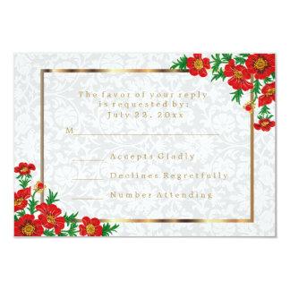 RSVP Elegant Red Poppy Flowers - Wedding 9 Cm X 13 Cm Invitation Card
