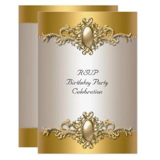 RSVP Gold Cream Elegant Birthday Party Pearl Card