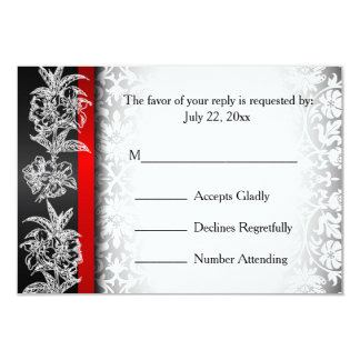 RSVP Modern Wedding Damask in White, Black and Red 9 Cm X 13 Cm Invitation Card