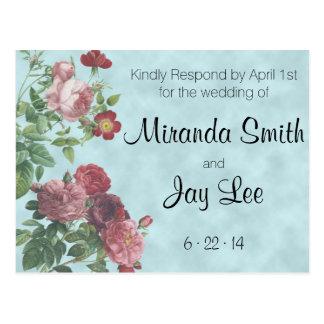RSVP Postcard   Vintage Rose Wedding