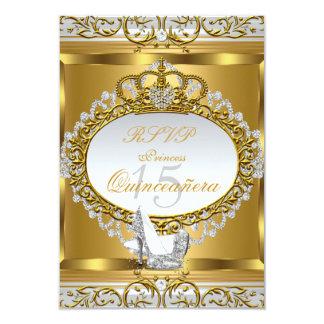 "RSVP Princess Quinceanera Elite Gold Shoe 2 3.5"" X 5"" Invitation Card"