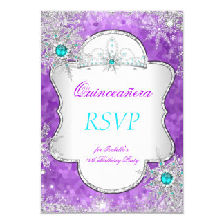 RSVP Princess Quinceanera Purple Teal Card