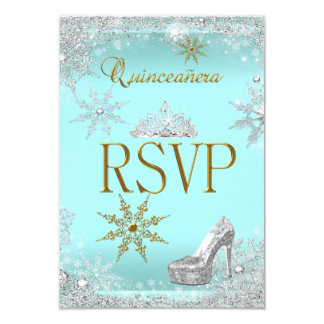 RSVP Quinceanera 15 Silver Teal Gold Elite Card