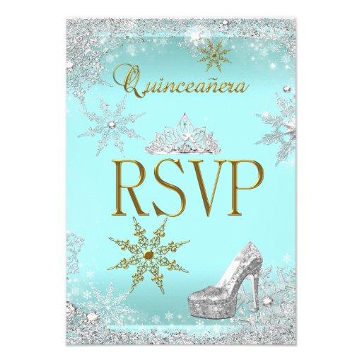 RSVP Quinceanera 15 Silver Teal Gold Elite Custom Announcement