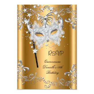 RSVP Quinceanera 15th Birthday Gold Masquerade Card