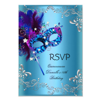 RSVP Quinceanera 15th Birthday Party Masquerade Card