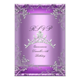 RSVP Quinceanera 15th Birthday Party Purple 9 Cm X 13 Cm Invitation Card