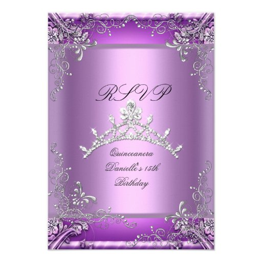 RSVP Quinceanera 15th Birthday Party Purple Personalized Invite