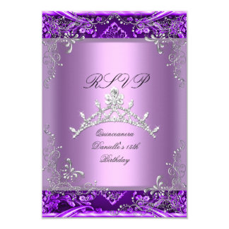 RSVP Quinceanera 15th Birthday Party Purple Lilac 9 Cm X 13 Cm Invitation Card