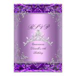 RSVP Quinceanera 15th Birthday Party Purple Lilac Personalised Invite