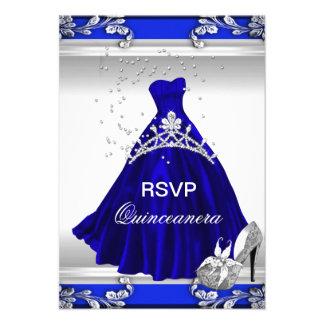 RSVP Quinceanera 15th Birthday Royal Blue Dress Custom Invitation