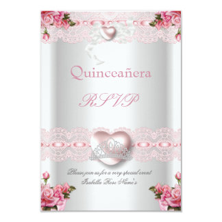 RSVP Quinceanera 15th Pink Silver Heart Rose Card