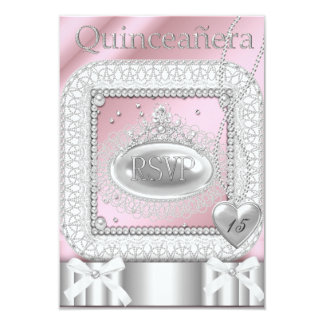 RSVP Quinceanera 15th Pink White Lace Pearl Card